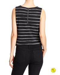Banana Republic - Black Factory Stripe Crop Top - Lyst
