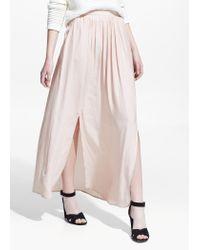Mango - Pink Slit Hem Skirt - Lyst