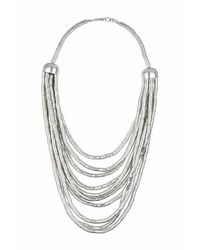 TOPSHOP | Metallic Cap Multirow Necklace | Lyst