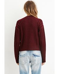 Forever 21 - Purple Boxy Mock Neck Sweater You've Been Added To The Waitlist - Lyst