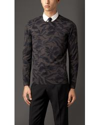Burberry | Multicolor Leaf Print Wool Silk Sweater for Men | Lyst