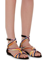 Pierre Hardy - Yellow Suede And Leather Scoubi Flat Sandals - Lyst
