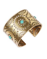 Lucky Brand - Metallic Goldtone Turquoise Perforated Cuff Bracelet - Lyst