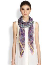 Etro - Purple Little Floral Silk Chiffon Bombay Scarf - Lyst