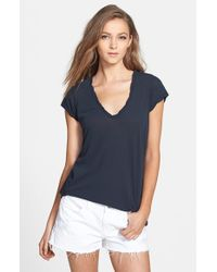 James Perse | Blue High Gauge Jersey Deep V Tee | Lyst