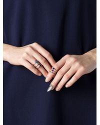 H&h | Metallic Three Stone Stacked Ring | Lyst