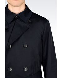 Armani - Blue Double-Breasted Trench In Technical Fabric for Men - Lyst