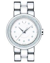 Movado - Metallic 'cerena' Diamond Bezel Ceramic & Steel Bracelet Watch - Lyst