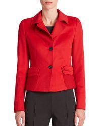 Akris Punto - Red Knit-pocket Wool & Angora Jacket - Lyst