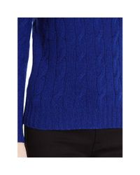 Ralph Lauren Black Label - Blue Cabled Cashmere Crewneck - Lyst