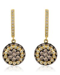 Le Vian | Metallic 14k Yellow Gold And White Diamond Drop Earrings | Lyst