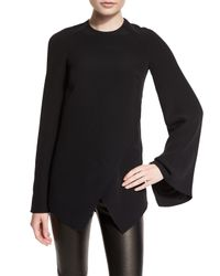 Ralph Lauren Collection - Black Mulberry Silk Cady Long-sleeve Top - Lyst