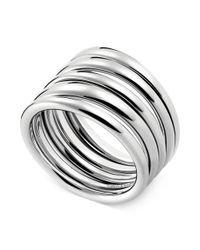 Calvin Klein   Gray Stainless Steel Polished Ribbed Ring   Lyst