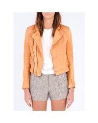 Billy Reid - Orange Harvey Leather Biker Jacket - Lyst