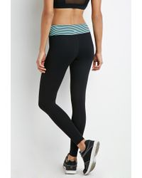 Forever 21 - Black Active Striped Waist Leggings - Lyst