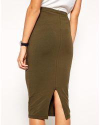 ASOS - Orange Midi Pencil Skirt In Jersey - Lyst