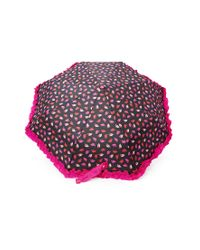 Forever 21 - Black Betsey Johnson Leaf Print Ruffled Umbrella - Lyst