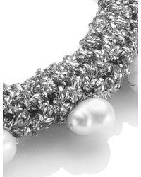 Lucy Folk | Metallic Silver Lining Crochet Pearly Bracelet | Lyst