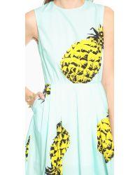 MSGM | Pineapple Shift Dress - Light Blue Multi | Lyst
