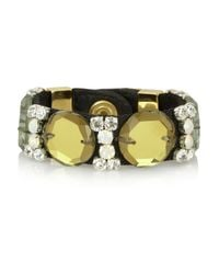 Marni - Green Twill, Leather And Crystal Bracelet - Lyst