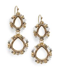 Saks Fifth Avenue | Metallic Beaded Double-loop Drop Earrings | Lyst