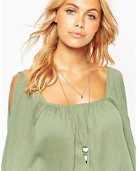 ASOS - Metallic Mono Stone And Spike Multirow Necklace - Lyst