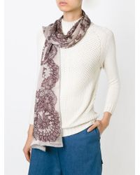 Valentino - Natural Floral Lace Print Scarf - Lyst