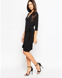 Ichi | Black 3/4 Sleeve Wrap Front Dress | Lyst