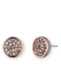 Anne Klein   Pink Rose Goldtone Glitz Disc Earrings   Lyst