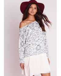 Missguided - Gray Slub Off Shoulder Knitted Sweater Grey - Lyst