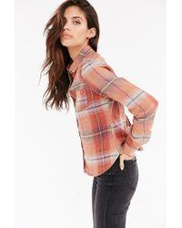 BDG - Orange Katie Flannel Button-down Shirt - Lyst