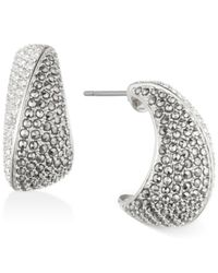 Judith Jack | Metallic Sterling Silver Marcasite And Crystal Stylized Wide Hoop Earrings | Lyst