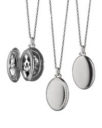 Monica Rich Kosann | Metallic 18k White Gold & Diamond Oval Locket Necklace | Lyst