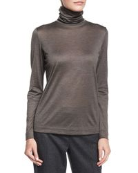 Loro Piana - Brown Cashmere-blend Funnel-neck Top - Lyst