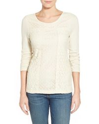Lucky Brand - Natural Mixed-Lace Cotton-Blend Top - Lyst