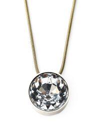 Lanvin - Metallic Crystal Pendant Necklace - Lyst