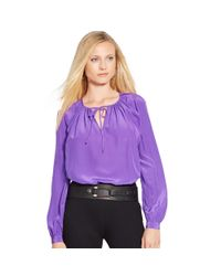 Ralph Lauren - Purple Silk Crepe Keyhole Blouse - Lyst