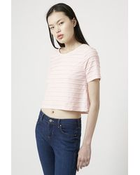 TOPSHOP - Pink 3d Cropped Scallop Tee - Lyst