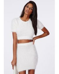 Missguided - Natural Alycia Fluffy Knit Cropped Jumper Cream - Lyst