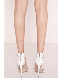 Missguided | Chain Strap Barely There Heeled Sandals White | Lyst