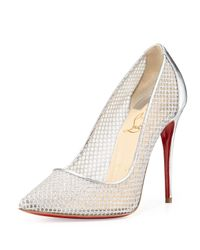 Christian Louboutin - Metallic Follies Resille Glitter Fishnet Pump - Lyst
