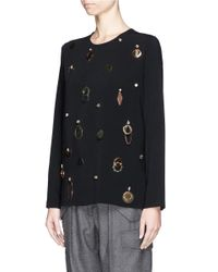 Stella McCartney - Black Strass Metal Embellishment Stretch Cady Top - Lyst