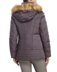 Marc New York - Purple Parker Faux Fur Trim Hooded Down Jacket - Lyst