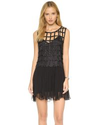 Free People | Black Sequin Shell Drop Waist Dress | Lyst