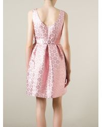 P.A.R.O.S.H. - Pink Belted Flared Floral Dress - Lyst