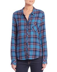 Soft Joie - Blue Anabella Draped Plaid Shirt - Lyst