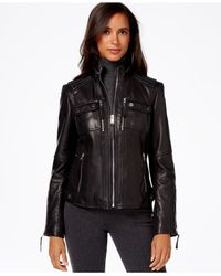 Michael Kors | Black Michael Knit-side Leather Bomber Jacket | Lyst