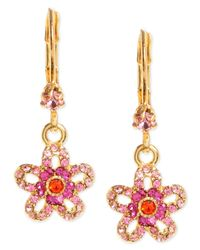 Betsey Johnson | Metallic Gold-tone Glass Crystal Flower Drop Earrings | Lyst