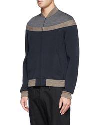 Kolor - Blue Contrast Panel Bomber Jacket for Men - Lyst