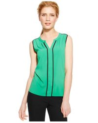 Calvin Klein | Green Sleeveless Piped-front Top | Lyst
